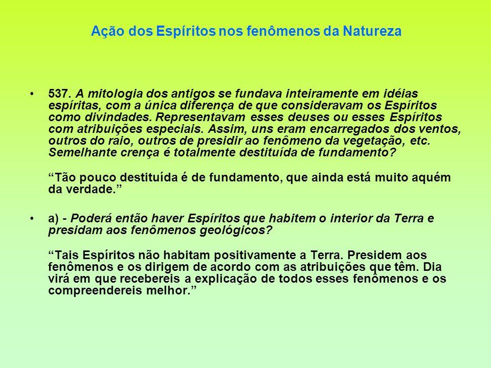 Ação dos Espíritos nos fenômenos da Natureza 537. A mitologia dos antigos se fundava inteiramente em idéias espíritas, com a única diferença de que co
