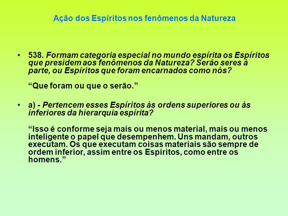 Ação dos Espíritos nos fenômenos da Natureza 538. Formam categoria especial no mundo espírita os Espíritos que presidem aos fenômenos da Natureza? Ser