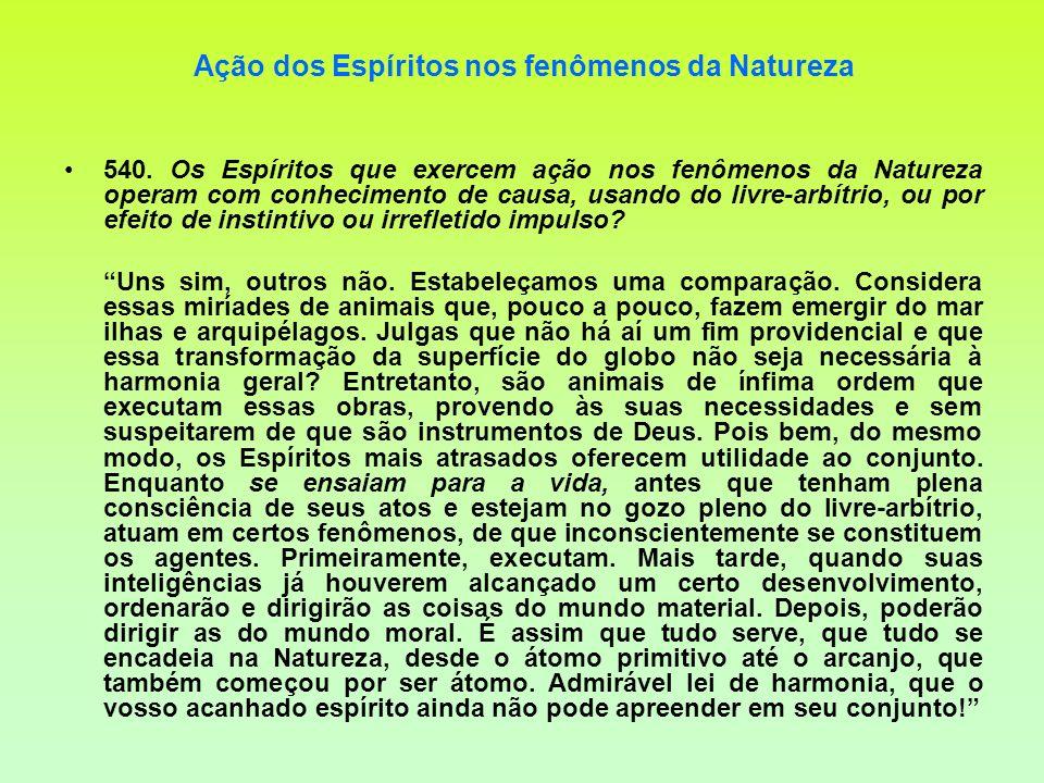 Ação dos Espíritos nos fenômenos da Natureza 540. Os Espíritos que exercem ação nos fenômenos da Natureza operam com conhecimento de causa, usando do