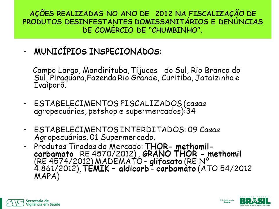 AÇÕES REALIZADAS NO ANO DE 2012 NA FISCALIZAÇÃO DE PRODUTOS DESINFESTANTES DOMISSANITÁRIOS E DENÚNCIAS DE COMÉRCIO DE CHUMBINHO. MUNICÍPIOS INSPECIONA