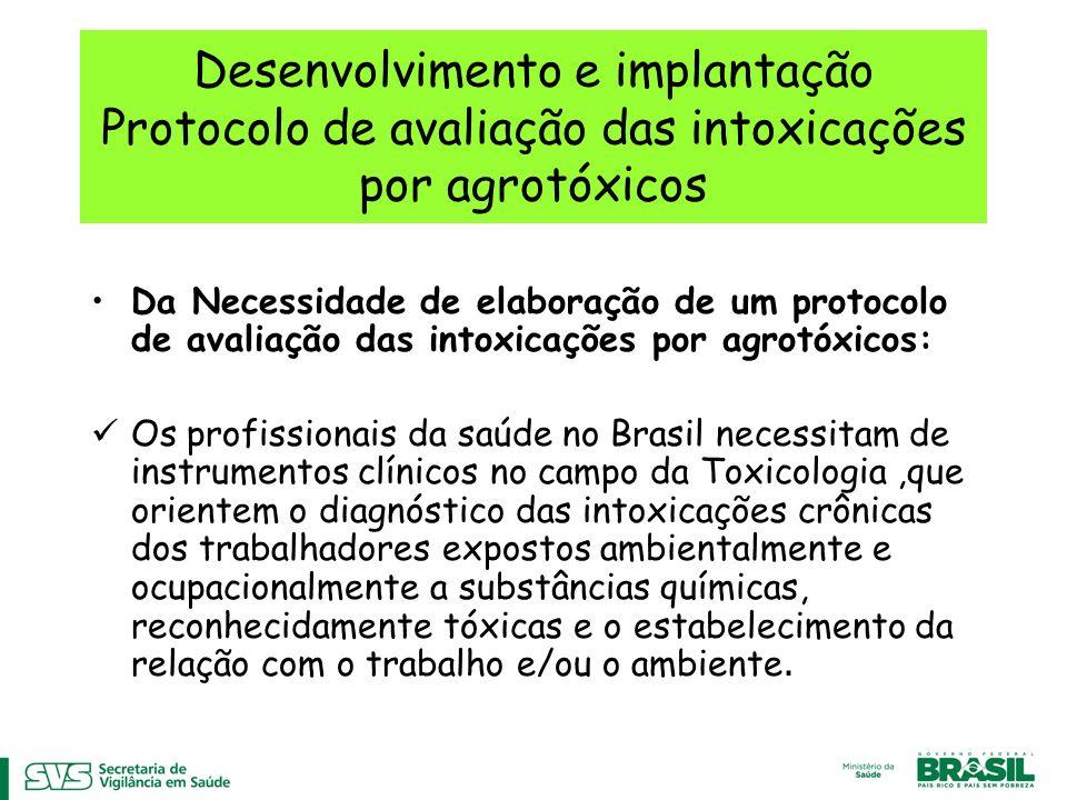 Desenvolvimento e implantação Protocolo de avaliação das intoxicações por agrotóxicos Da Necessidade de elaboração de um protocolo de avaliação das in