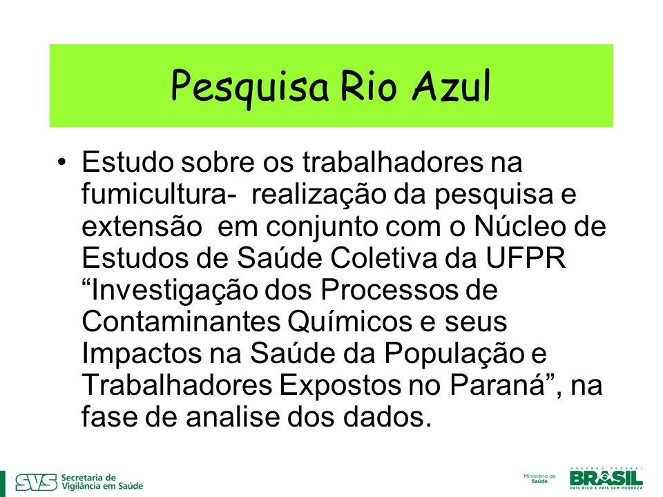 Pesquisa Rio Azul Estudo sobre os trabalhadores na fumicultura- realização da pesquisa e extensão em conjunto com o Núcleo de Estudos de Saúde Coletiva da UFPR Investigação dos Processos de Contaminantes Químicos e seus Impactos na Saúde da População e Trabalhadores Expostos no Paraná, na fase de analise dos dados.