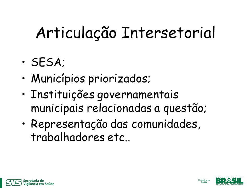 Articulação Intersetorial SESA; Municípios priorizados; Instituições governamentais municipais relacionadas a questão; Representação das comunidades,