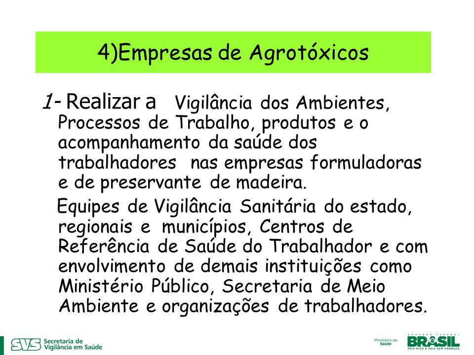 4)Empresas de Agrotóxicos 1- Realizar a Vigilância dos Ambientes, Processos de Trabalho, produtos e o acompanhamento da saúde dos trabalhadores nas empresas formuladoras e de preservante de madeira.
