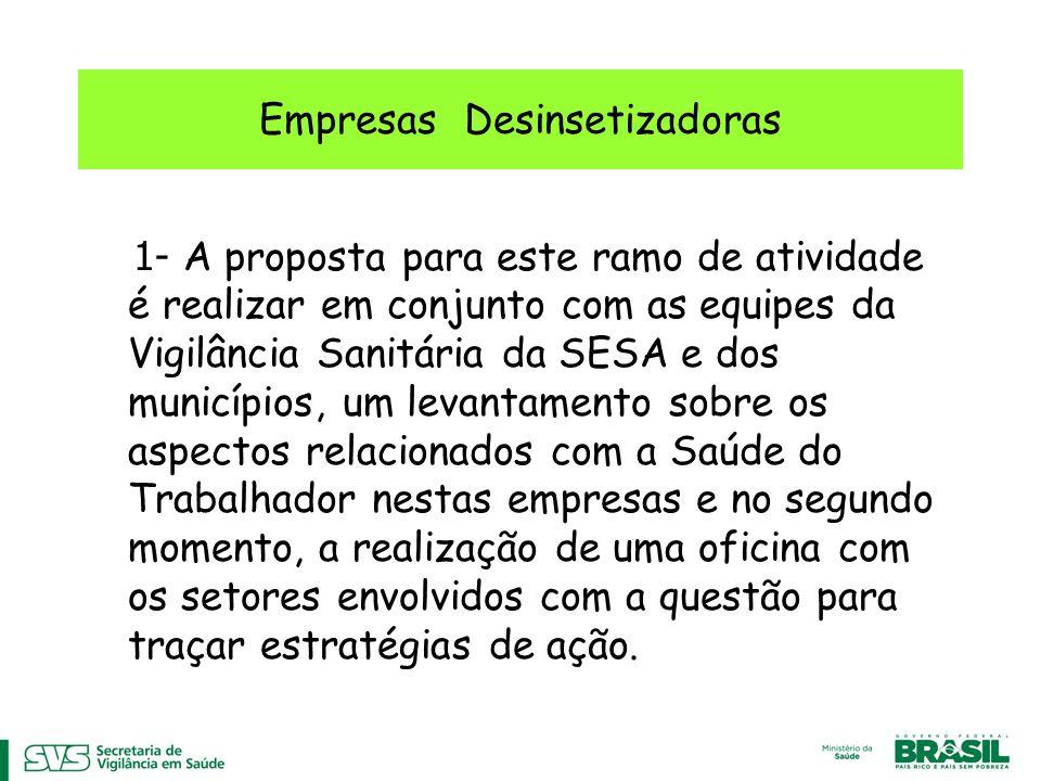 Empresas Desinsetizadoras 1- A proposta para este ramo de atividade é realizar em conjunto com as equipes da Vigilância Sanitária da SESA e dos municí