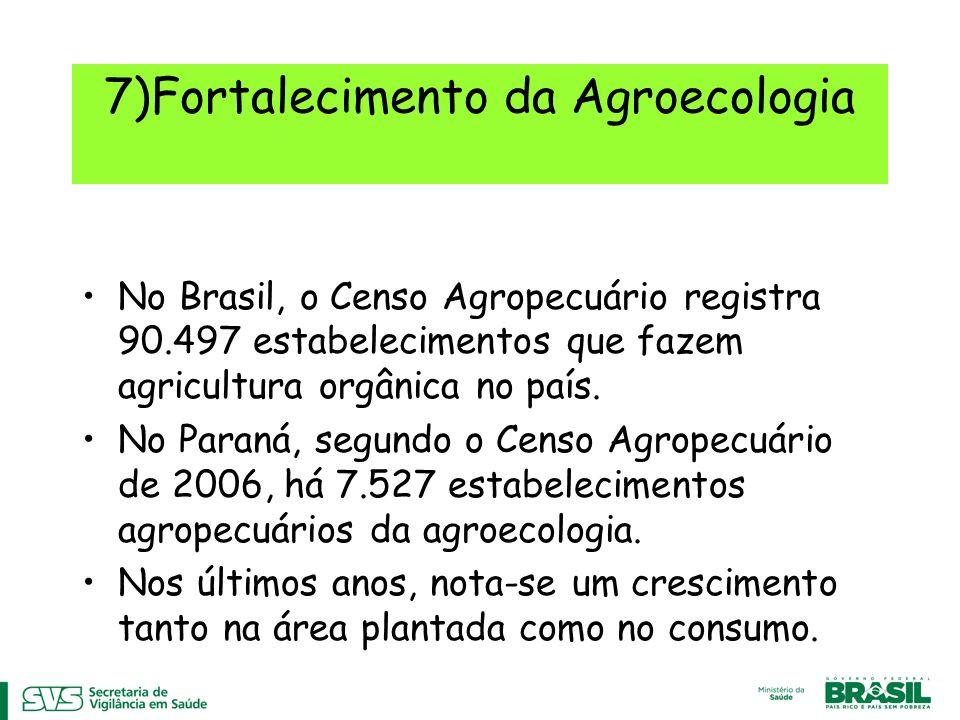 7)Fortalecimento da Agroecologia No Brasil, o Censo Agropecuário registra 90.497 estabelecimentos que fazem agricultura orgânica no país.