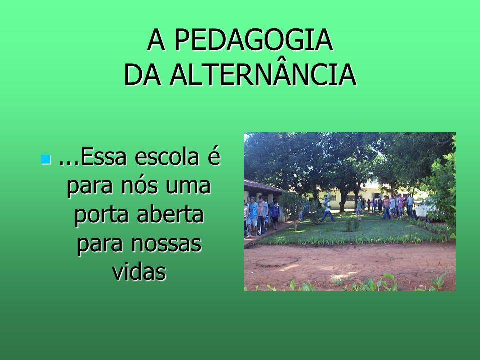 A PEDAGOGIA DA ALTERNÂNCIA...Essa escola é para nós uma porta aberta para nossas vidas...Essa escola é para nós uma porta aberta para nossas vidas