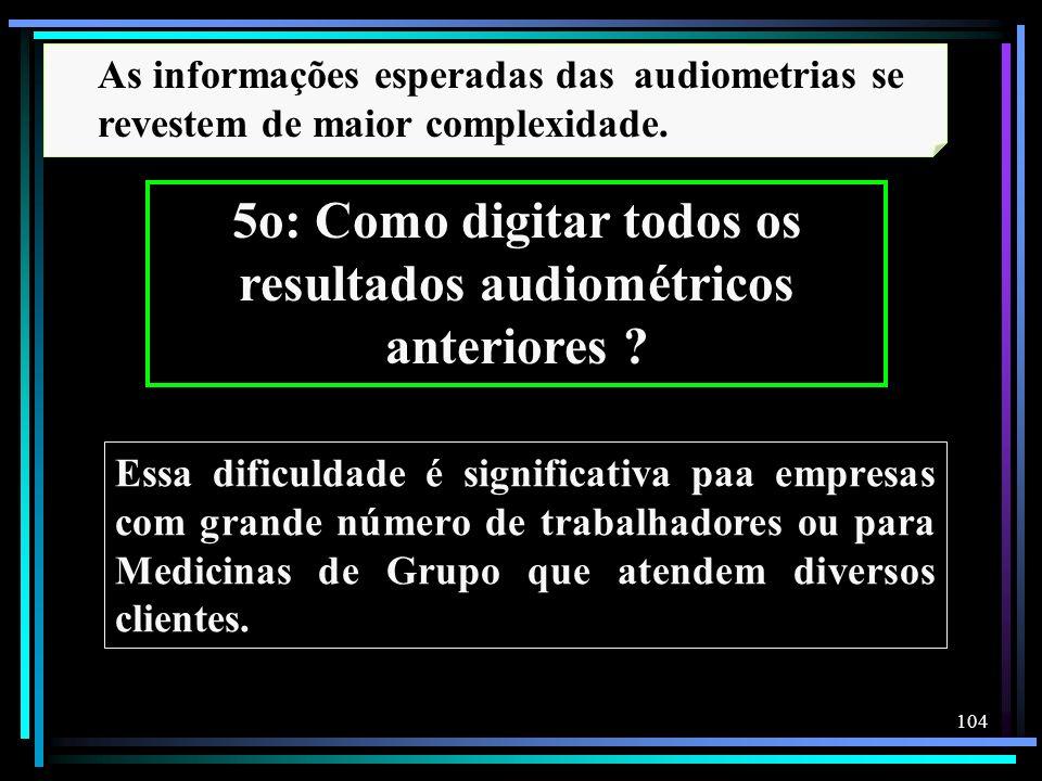 104 As informações esperadas das audiometrias se revestem de maior complexidade. 5o: Como digitar todos os resultados audiométricos anteriores ? Essa