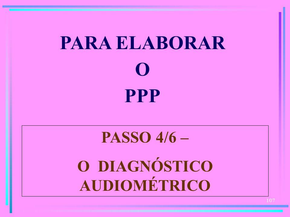 107 PARA ELABORAR O PPP PASSO 4/6 – O DIAGNÓSTICO AUDIOMÉTRICO