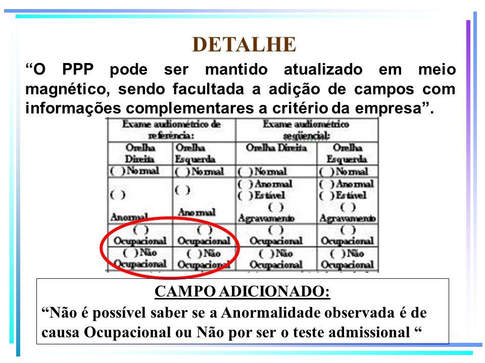 111 DETALHE O PPP pode ser mantido atualizado em meio magnético, sendo facultada a adição de campos com informações complementares a critério da empre