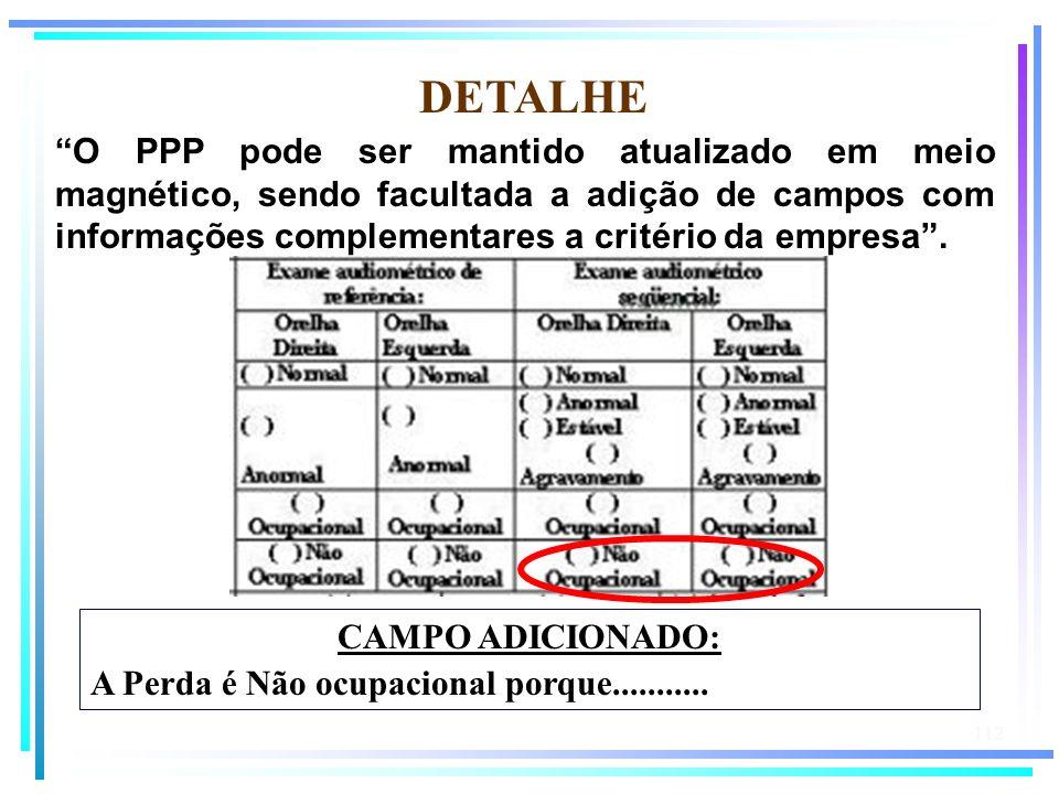 112 DETALHE O PPP pode ser mantido atualizado em meio magnético, sendo facultada a adição de campos com informações complementares a critério da empre