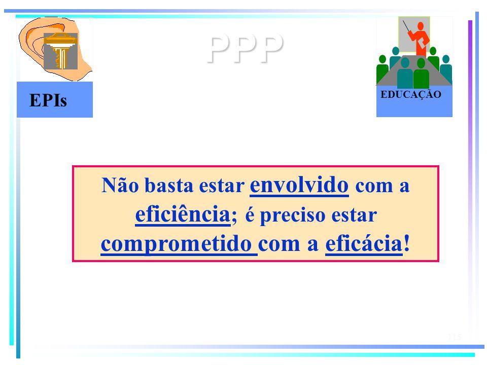 115 PPP EPIs EDUCAÇÃO Não basta estar envolvido com a eficiência ; é preciso estar comprometido com a eficácia!