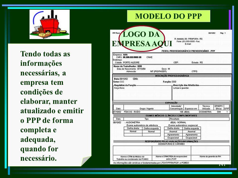 141 MODELO DO PPP Tendo todas as informações necessárias, a empresa tem condições de elaborar, manter atualizado e emitir o PPP de forma completa e ad