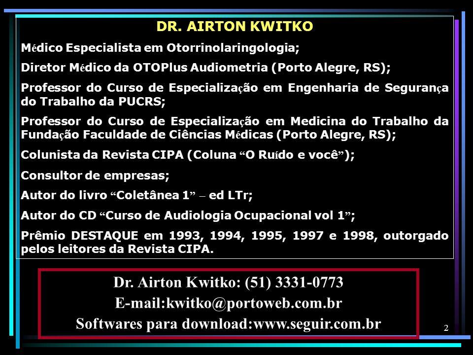 2 DR. AIRTON KWITKO M é dico Especialista em Otorrinolaringologia; Diretor M é dico da OTOPlus Audiometria (Porto Alegre, RS); Professor do Curso de E