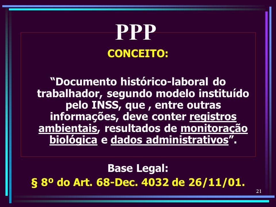 21 CONCEITO: Documento histórico-laboral do trabalhador, segundo modelo instituído pelo INSS, que, entre outras informações, deve conter registros amb