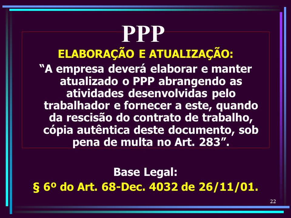 22 ELABORAÇÃO E ATUALIZAÇÃO: A empresa deverá elaborar e manter atualizado o PPP abrangendo as atividades desenvolvidas pelo trabalhador e fornecer a