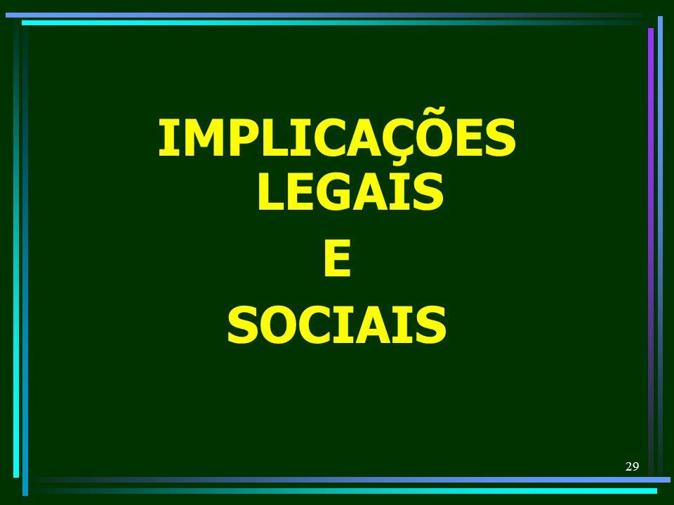 29 IMPLICAÇÕES LEGAIS E SOCIAIS