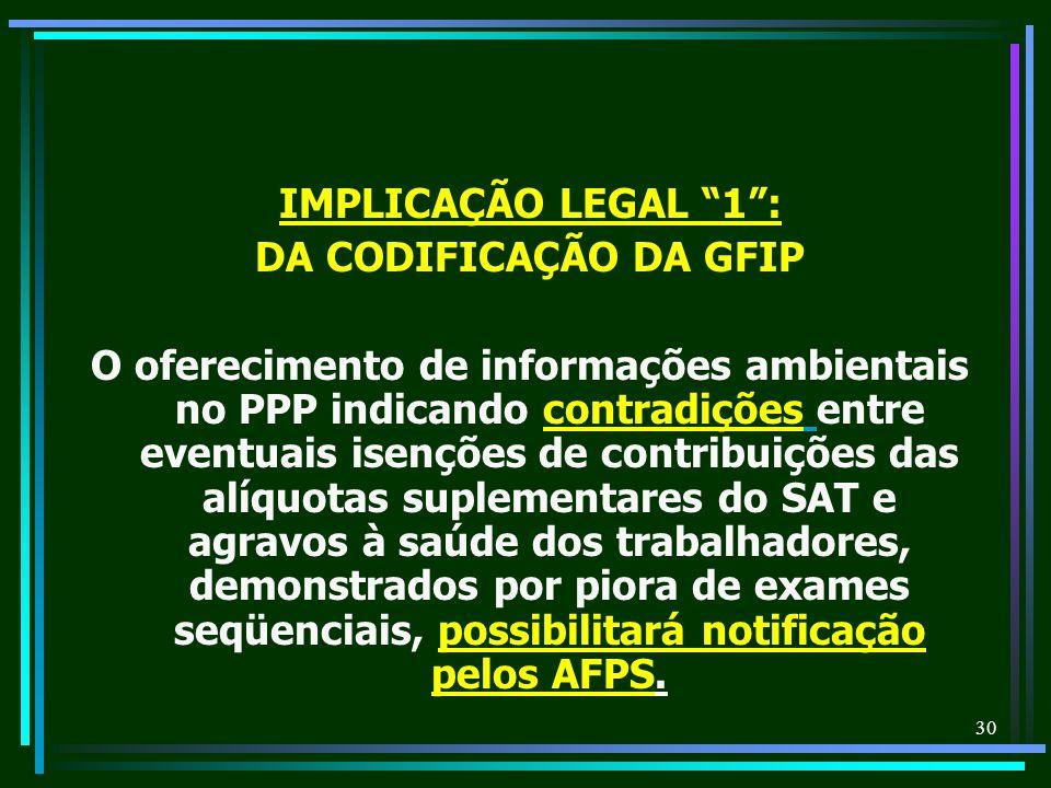 30 IMPLICAÇÃO LEGAL 1: DA CODIFICAÇÃO DA GFIP O oferecimento de informações ambientais no PPP indicando contradições entre eventuais isenções de contr