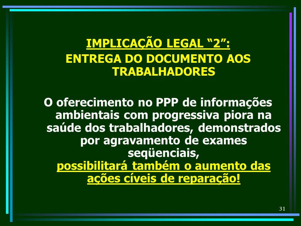 31 IMPLICAÇÃO LEGAL 2: ENTREGA DO DOCUMENTO AOS TRABALHADORES O oferecimento no PPP de informações ambientais com progressiva piora na saúde dos traba