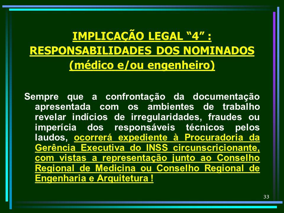 33 IMPLICAÇÃO LEGAL 4 : RESPONSABILIDADES DOS NOMINADOS (médico e/ou engenheiro) Sempre que a confrontação da documentação apresentada com os ambiente