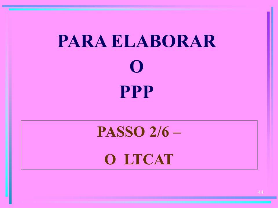 44 PARA ELABORAR O PPP PASSO 2/6 – O LTCAT