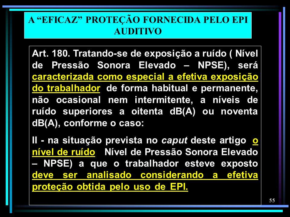 55 Art. 180. Tratando-se de exposição a ruído ( Nível de Pressão Sonora Elevado – NPSE), será caracterizada como especial a efetiva exposição do traba