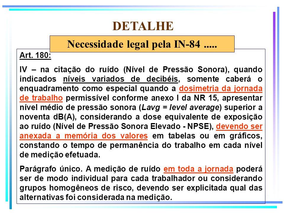 77 DETALHE Art. 180: IV – na citação do ruído (Nível de Pressão Sonora), quando indicados níveis variados de decibéis, somente caberá o enquadramento