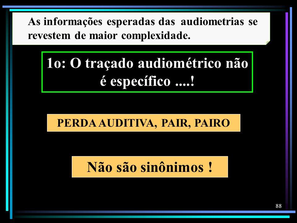 88 Não são sinônimos ! PERDA AUDITIVA, PAIR, PAIRO As informações esperadas das audiometrias se revestem de maior complexidade. 1o: O traçado audiomét