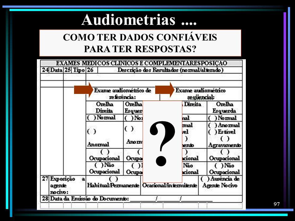 97 ? COMO TER DADOS CONFIÁVEIS PARA TER RESPOSTAS? Audiometrias....