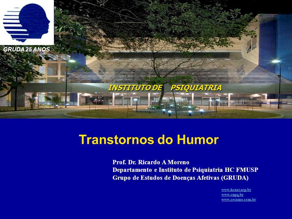 INSTITUTO DE PSIQUIATRIA GRUDA 25 ANOS Transtornos do Humor Prof. Dr. Ricardo A Moreno Departamento e Instituto de Psiquiatria HC FMUSP Grupo de Estud