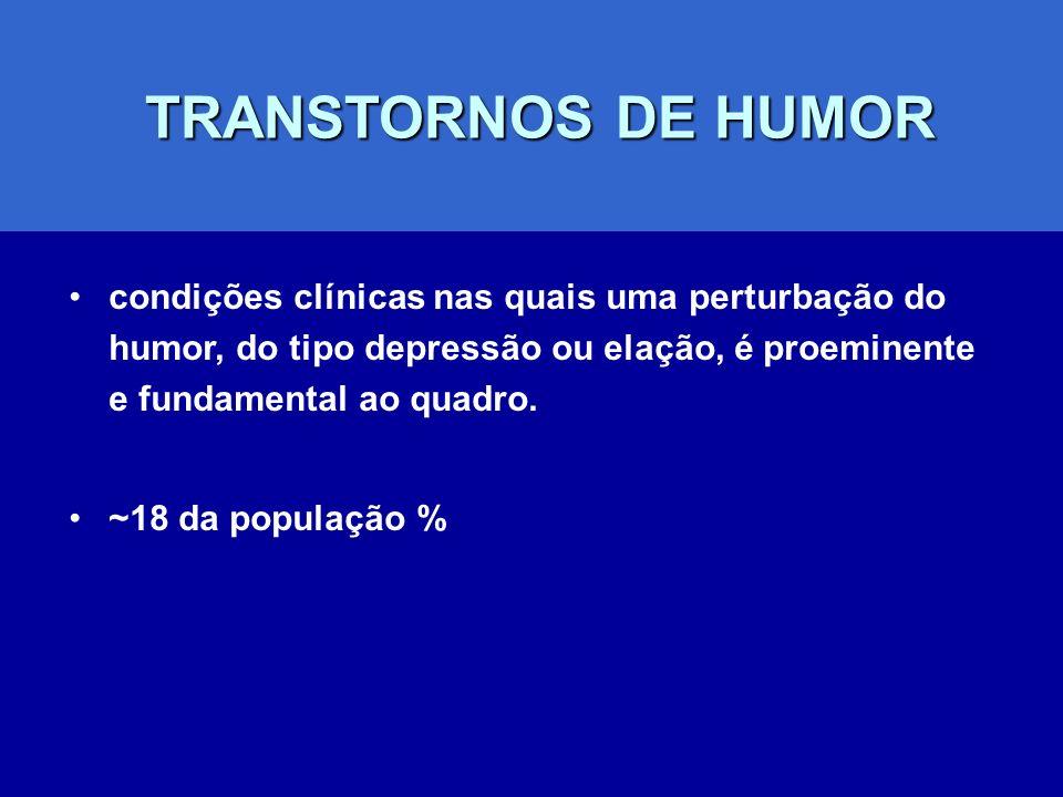 TRANSTORNOS DE HUMOR TRANSTORNOS DE HUMOR condições clínicas nas quais uma perturbação do humor, do tipo depressão ou elação, é proeminente e fundamen