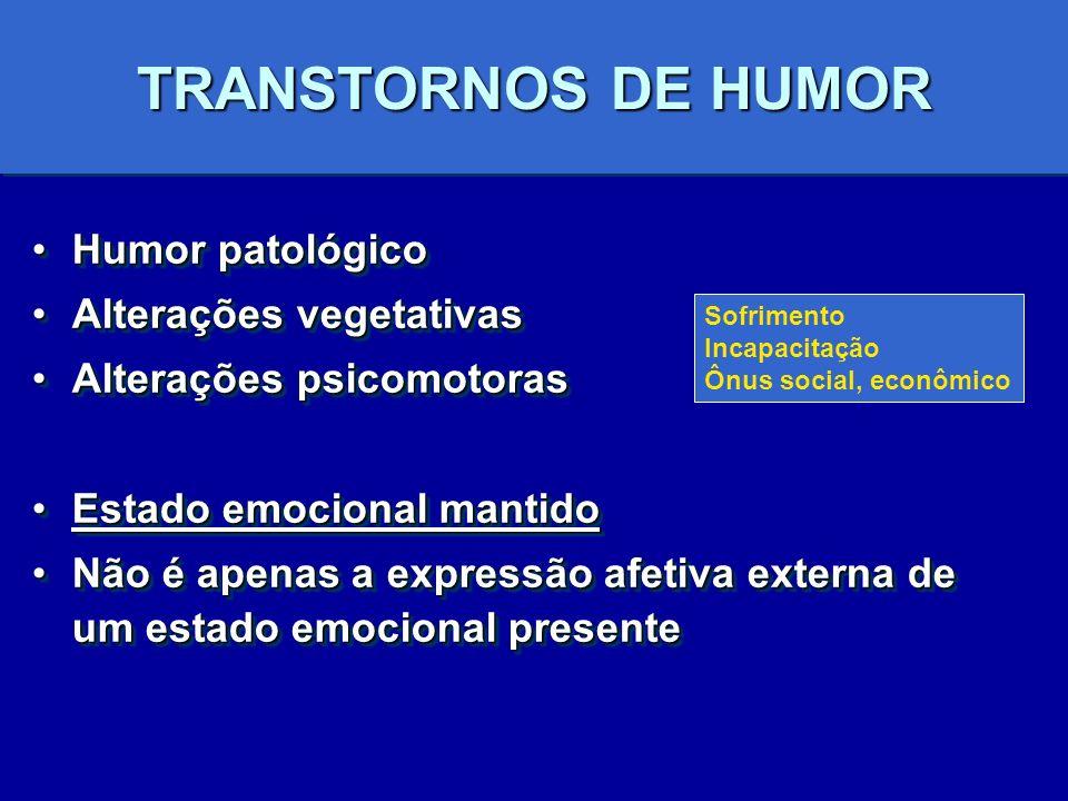 TRANSTORNOS DE HUMOR Humor patológicoHumor patológico Alterações vegetativasAlterações vegetativas Alterações psicomotorasAlterações psicomotoras Esta