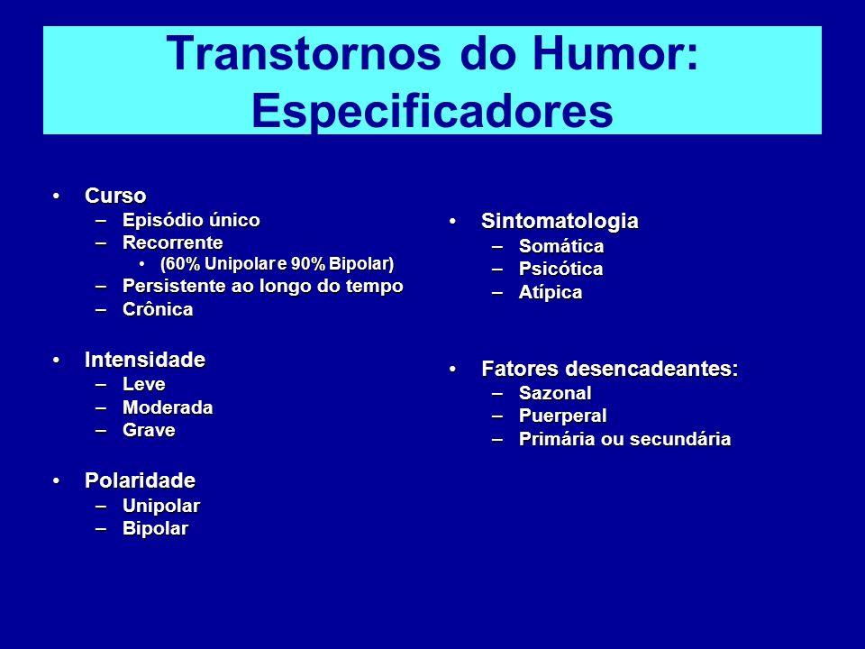 Transtornos do Humor: Especificadores CursoCurso –Episódio único –Recorrente (60% Unipolar e 90% Bipolar)(60% Unipolar e 90% Bipolar) –Persistente ao