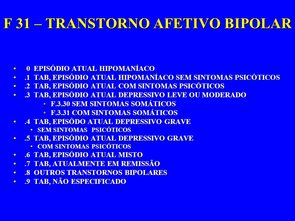 F 31 – TRANSTORNO AFETIVO BIPOLAR.0 EPISÓDIO ATUAL HIPOMANÍACO.0 EPISÓDIO ATUAL HIPOMANÍACO.1 TAB, EPISÓDIO ATUAL HIPOMANÍACO SEM SINTOMAS PSICÓTICOS.