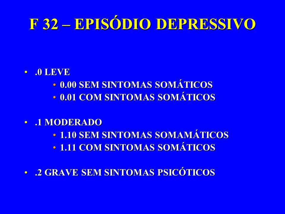 F 32 – EPISÓDIO DEPRESSIVO.0 LEVE.0 LEVE 0.00 SEM SINTOMAS SOMÁTICOS0.00 SEM SINTOMAS SOMÁTICOS 0.01 COM SINTOMAS SOMÁTICOS0.01 COM SINTOMAS SOMÁTICOS