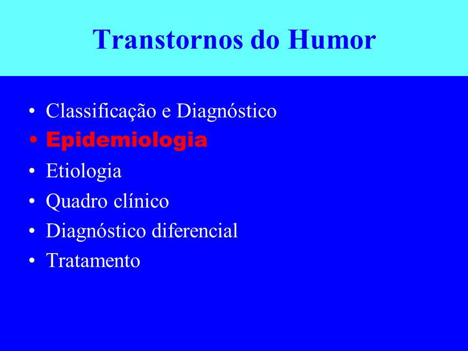 Transtornos do Humor Classificação e Diagnóstico Epidemiologia Etiologia Quadro clínico Diagnóstico diferencial Tratamento