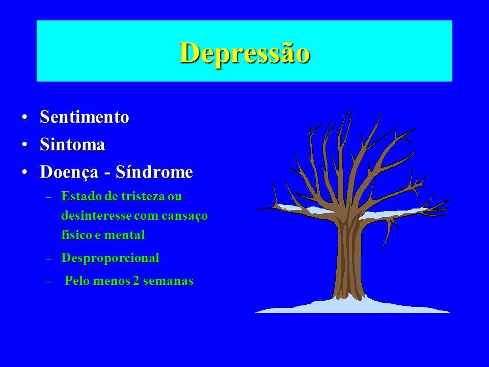 Depressão SentimentoSentimento SintomaSintoma Doença - SíndromeDoença - Síndrome – Estado de tristeza ou desinteresse com cansaço físico e mental – De