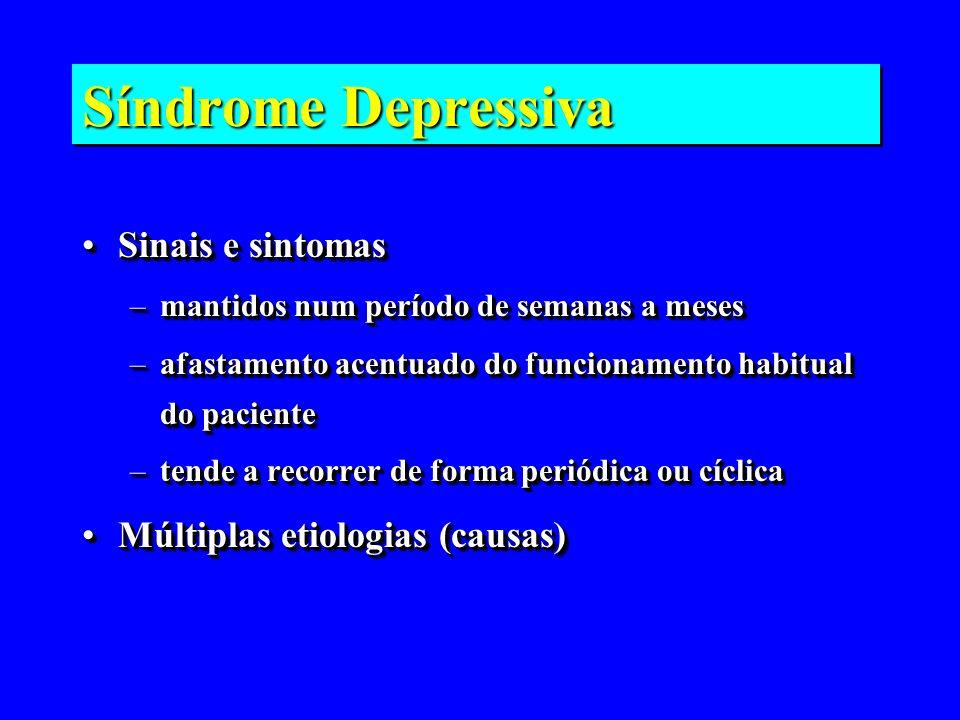 Síndrome Depressiva Sinais e sintomasSinais e sintomas –mantidos num período de semanas a meses –afastamento acentuado do funcionamento habitual do pa