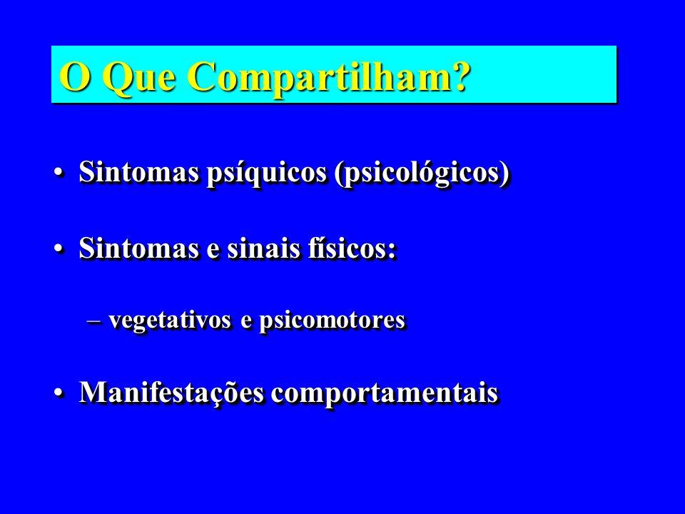 O Que Compartilham? Sintomas psíquicos (psicológicos)Sintomas psíquicos (psicológicos) Sintomas e sinais físicos:Sintomas e sinais físicos: –vegetativ