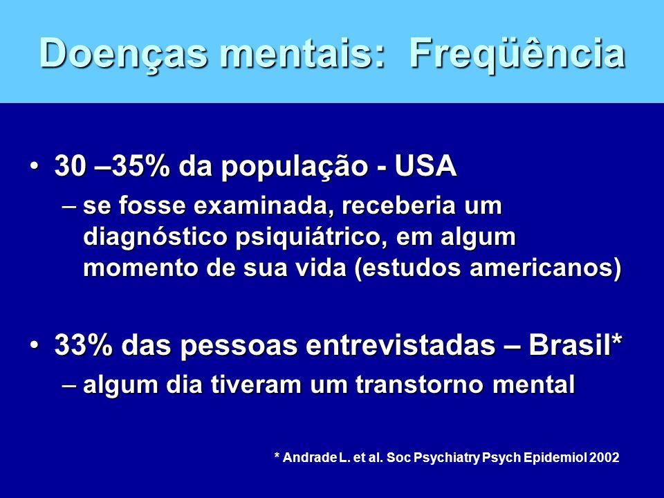 Doenças mentais: Freqüência 30 –35% da população - USA30 –35% da população - USA –se fosse examinada, receberia um diagnóstico psiquiátrico, em algum