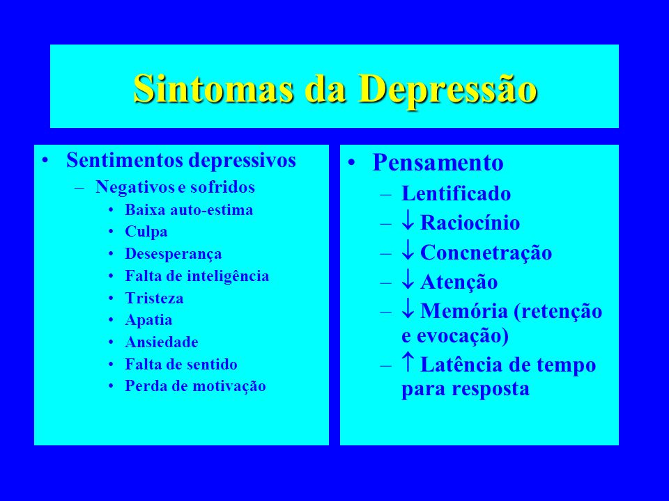 Sintomas da Depressão Sentimentos depressivos –Negativos e sofridos Baixa auto-estima Culpa Desesperança Falta de inteligência Tristeza Apatia Ansieda