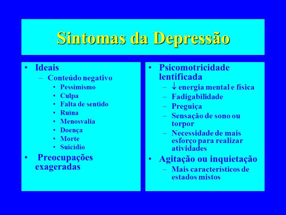 Sintomas da Depressão Ideais –Conteúdo negativo Pessimismo Culpa Falta de sentido Ruína Menosvalia Doença Morte Suicídio Preocupações exageradas Psico