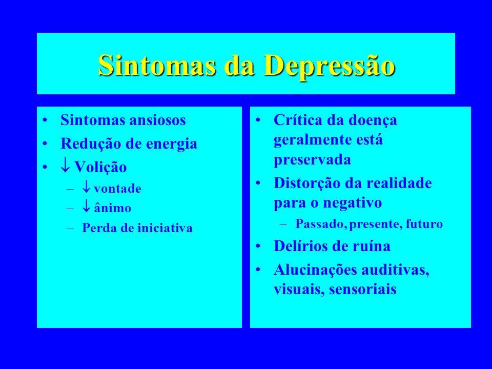 Sintomas da Depressão Sintomas ansiosos Redução de energia Volição – vontade – ânimo –Perda de iniciativa Crítica da doença geralmente está preservada