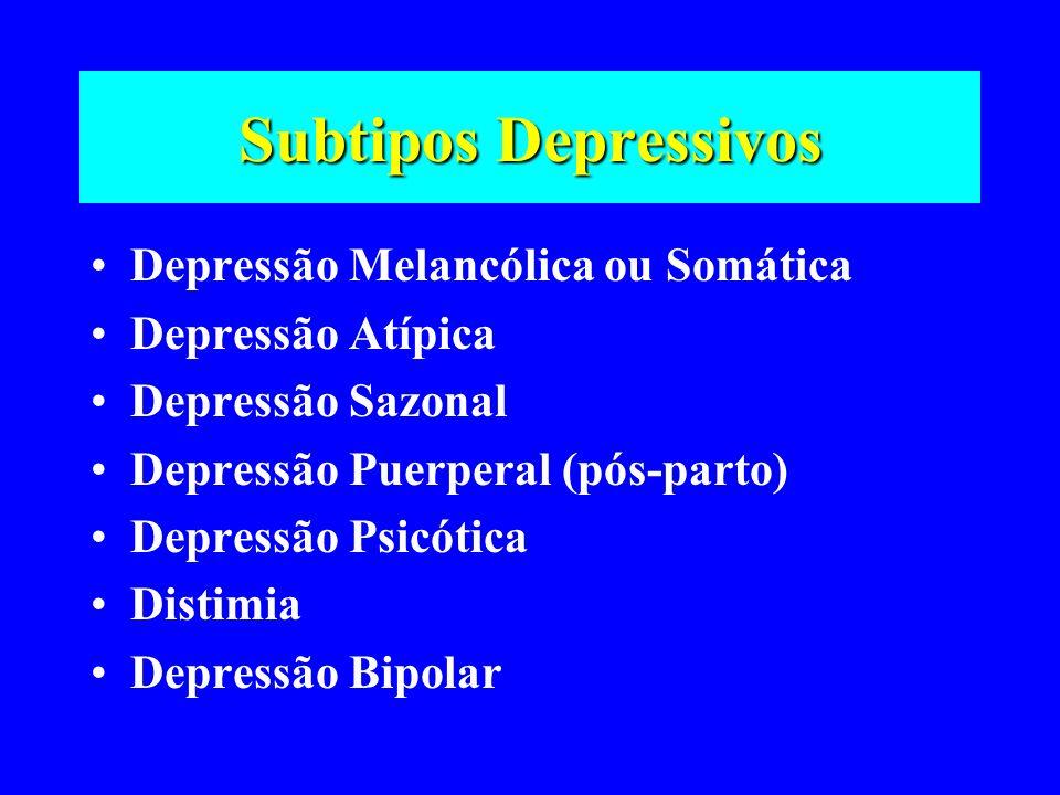 Subtipos Depressivos Depressão Melancólica ou Somática Depressão Atípica Depressão Sazonal Depressão Puerperal (pós-parto) Depressão Psicótica Distimi