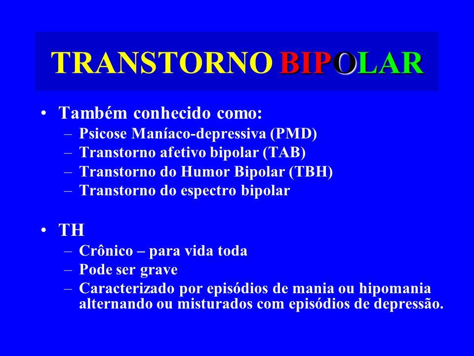 BIPOLAR TRANSTORNO BIPOLAR Também conhecido como: –Psicose Maníaco-depressiva (PMD) –Transtorno afetivo bipolar (TAB) –Transtorno do Humor Bipolar (TB