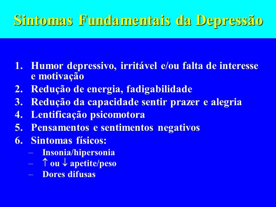 Sintomas Fundamentais da Depressão 1.Humor depressivo, irritável e/ou falta de interesse e motivação 2.Redução de energia, fadigabilidade 3.Redução da