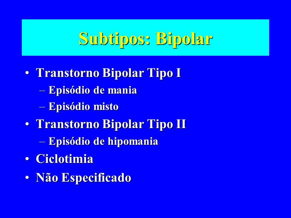 Subtipos: Bipolar Transtorno Bipolar Tipo ITranstorno Bipolar Tipo I –Episódio de mania –Episódio misto Transtorno Bipolar Tipo IITranstorno Bipolar T