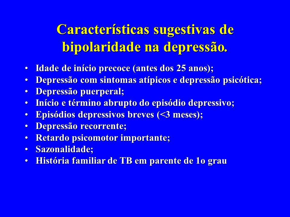 - Características sugestivas de bipolaridade na depressão. Idade de início precoce (antes dos 25 anos);Idade de início precoce (antes dos 25 anos); De