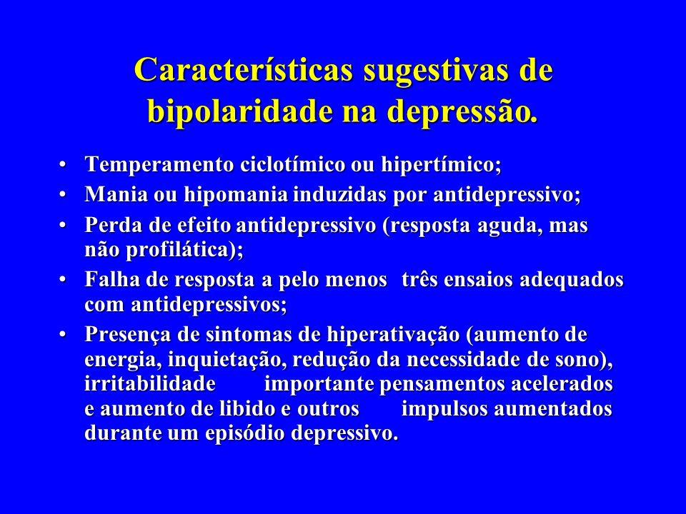 Características sugestivas de bipolaridade na depressão. Temperamento ciclotímico ou hipertímico;Temperamento ciclotímico ou hipertímico; Mania ou hip