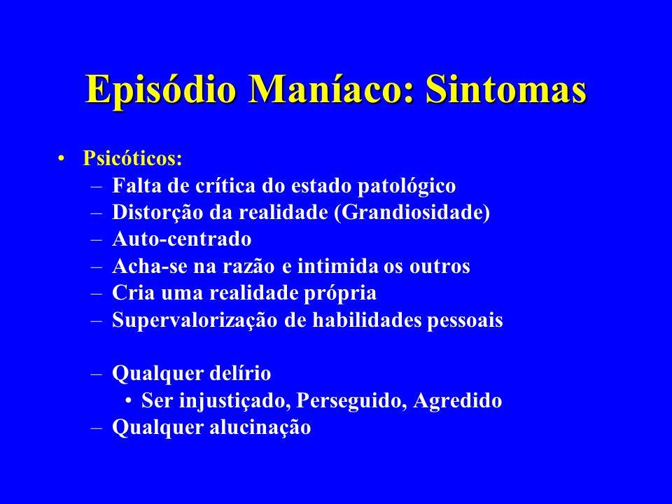Episódio Maníaco: Sintomas Psicóticos: –Falta de crítica do estado patológico –Distorção da realidade (Grandiosidade) –Auto-centrado –Acha-se na razão